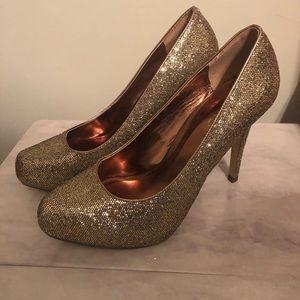 Shoes - Golden bronze platform heels WORN ONCE!